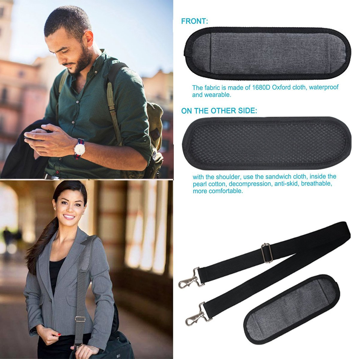 JAKAGO 150cm Universal Replacement Shoulder Straps Adjustable Bag Straps with Metal Swivel Hooks and Non-Slip Pad for Duffel Bag Laptop Briefcase Violin Bag Camera Travel Bag (Grey) by JAKAGO (Image #2)