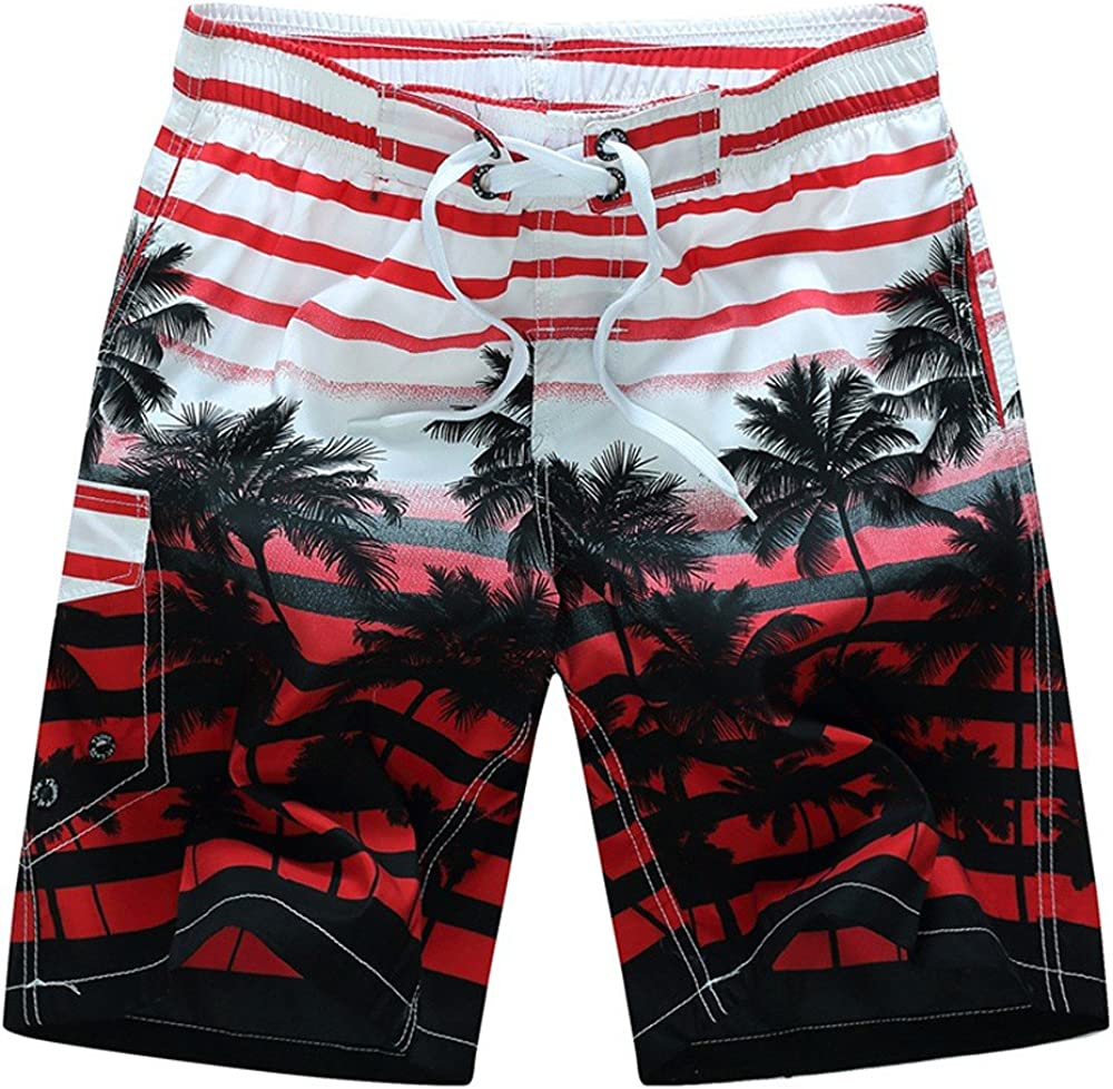DEATU Water Sport Board Shorts Bathing Suits with Mesh Liner and 3 Pockets Mens Swim Trunks Quick Dry Athletic Shorts