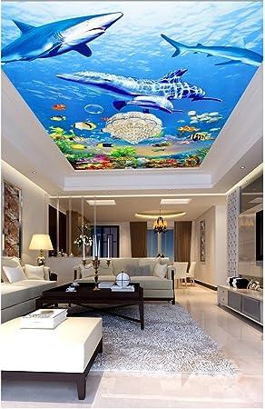 Huytong 3D Papel Pintado Sala De Estar Dormitorio Pegatinas De Pared Mural Océano Delfines Marinos Y Tiburones Techo 200Cmx140Cm|78.74(In) X55.11(In): ...