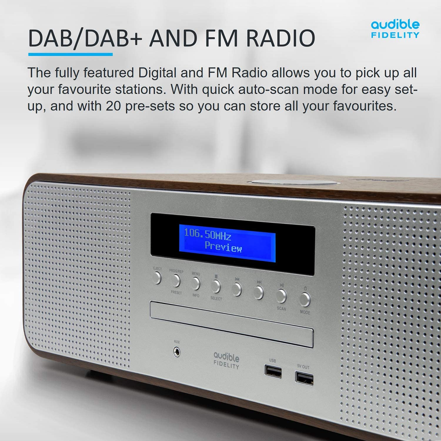 AUDIBLE FIDELITY Complete Hi-Fi DAB//DAB+ Stereo System CD Player With Speakers FM /& Digital Radio with Remote Control Wireless Charging /& USB Charging MP3 Playback Bluetooth