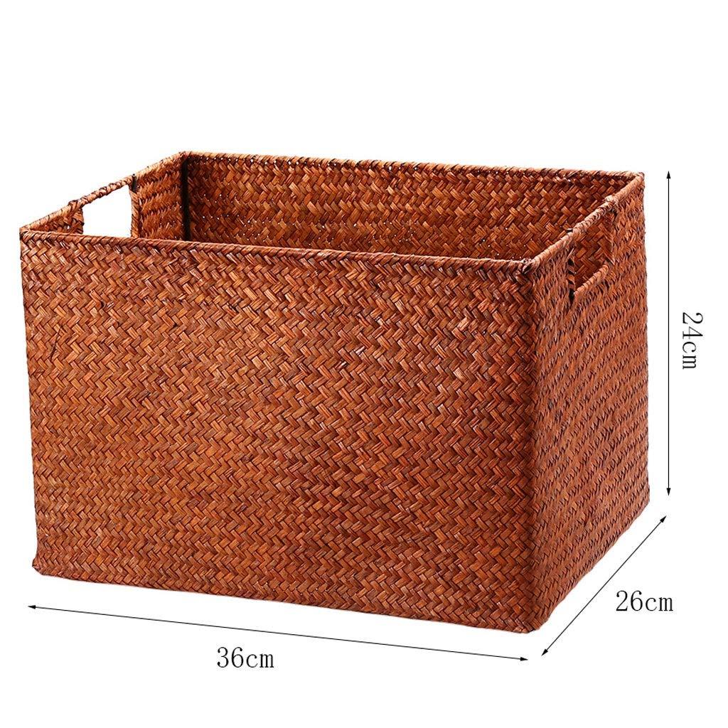 color : B, Size : 36x26x24cm Straw Handmade Storage Box ...