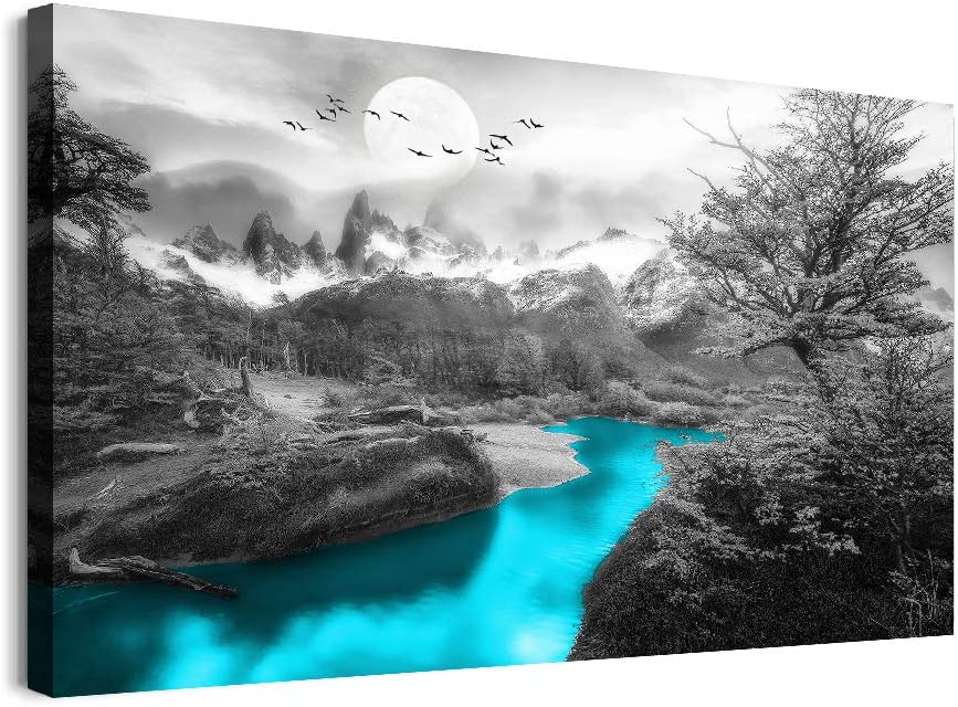 Canvas Wall Art for Bedroom Wall Decor for Living Room Bathroom Canvas Art Prints Black and White Forest Landscape Paintings Modern Inspirational Framed Ready to Hang Pictures for Home Decoration