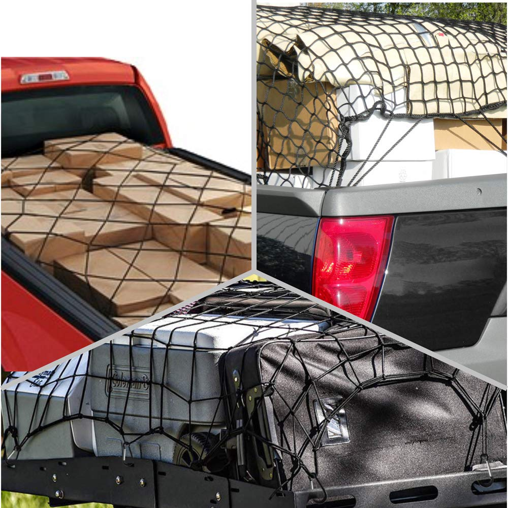 Super Duty Truck Bed Net with 16PCS Adjustable Clip-On Carabiners /& Storage Bag for Truck Pickup Trailer Van SUV Boat Stretches to 10 x 14 5 Years Warranty ZoarC 5 x 7 Bungee Cargo Net