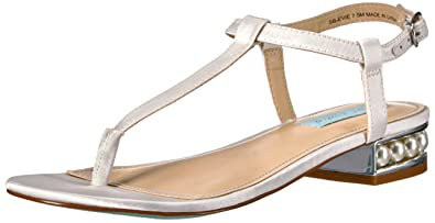 Betsey Johnson Womens SBOlive Open Toe Casual Slingback Ivory Satin Size 95