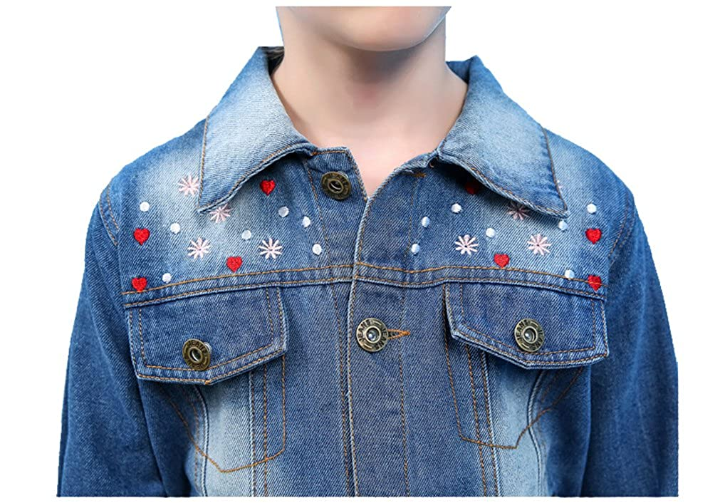 YUFAN Girls Blue Distressed Ripped Embroidered Pearl Beading Denim Jean Jacket 4 Styles