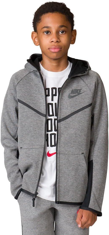 Nike Kinder B NSW Tch FLC Wr Hoodie Fz Jacket Grau (Carbon Heather/Black/Anthracite)