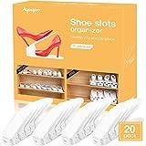 AQUAPRO Shoe Slots Organizer, Adjustable Shoe Stacker Space Saver, Double Deck Shoe Rack Holder for Closet Organization (20-Pack)(White)