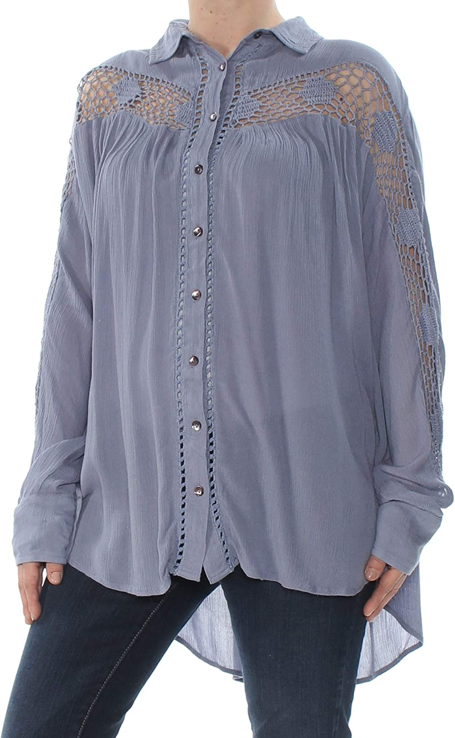 Free People | Katie Bird Button-Up Long-Sleeve Top | Blue