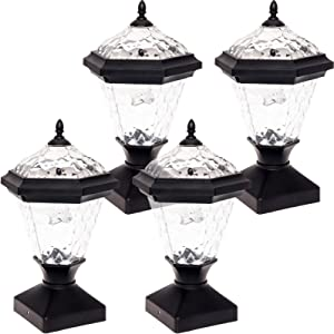GreenLighting 4 Pack Adonia Solar Post Cap Light for 4 x 4 Wood Posts (Black)