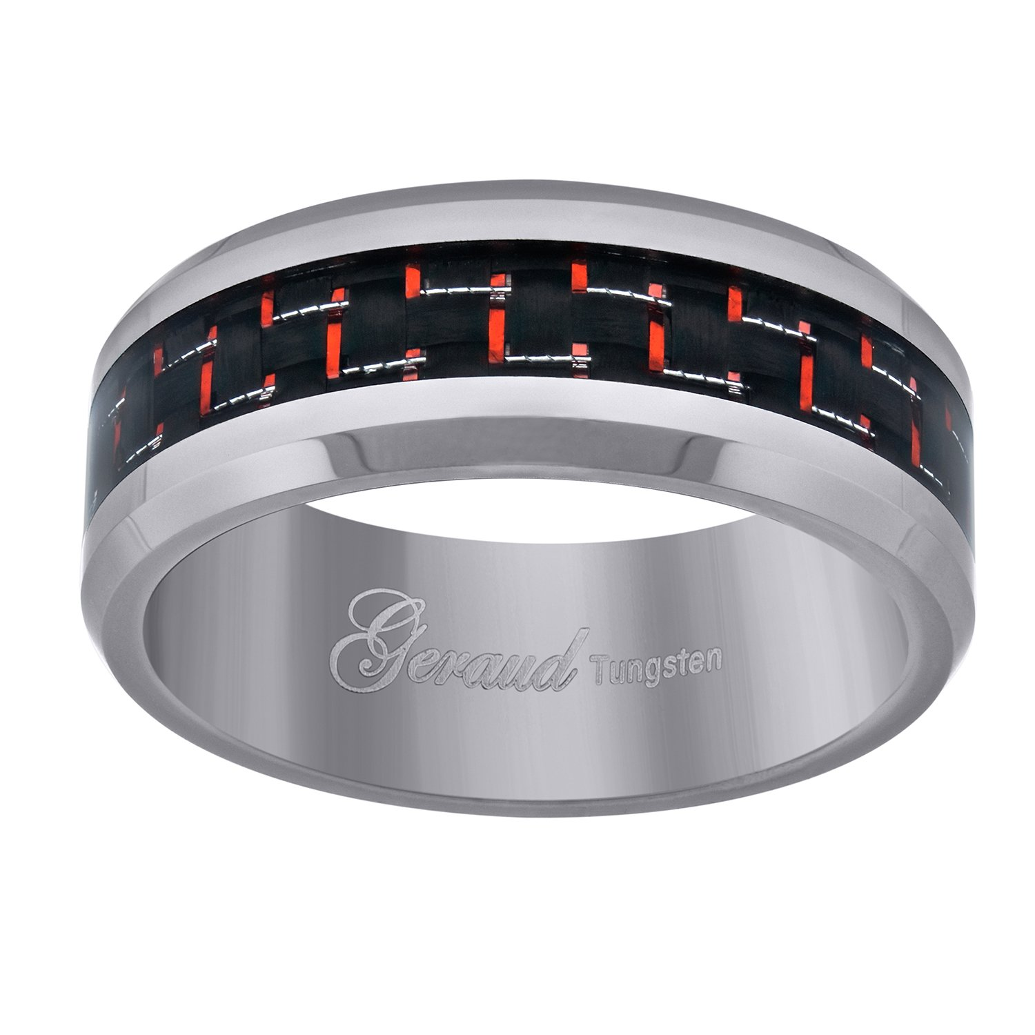 Jewels By Lux Tungsten Red Carbon Fiber Inlay Polished Beveled Edges Mens Comfort-fit 8mm Size-13.5 Wedding Anniversary Band.