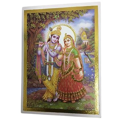 Amazon.com: Padma Craft Hindu Radha Krishna Gold Foil ...
