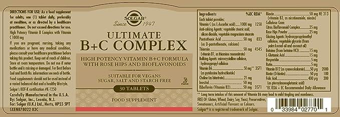Solgar Ultimate B + C Complex Comprimidos - Envase de 30: Amazon.es: Salud y cuidado personal