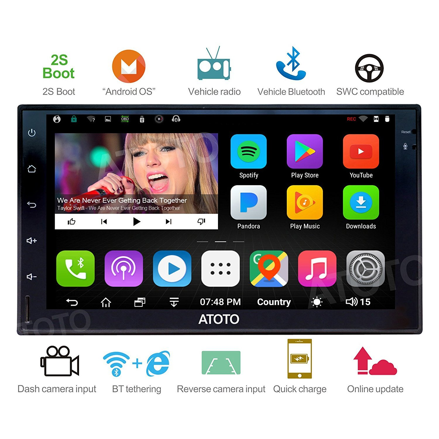 [NEW] ATOTO A6 2DIN Android Car Navigation Stereo with Dual Bluetooth & 2A Charge -Premium A61721P 2G/32G Car Entertainment Multimedia Radio,WiFi/BT Tethering internet,support 256G SD &more