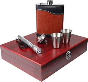 Hip Flasks Gift Set: Highest Food Grade Stainless Steel Beverage Flask, Includes Funnel, Flashlight, 2 Steel Cups in a Wood Box