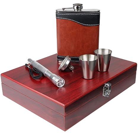 Amazon.com: Juego de regalo de petacas de acero inoxidable ...