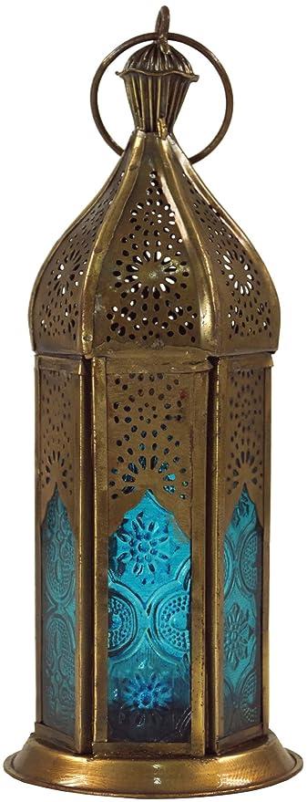 20x7,5x7,5 cm Windlicht Guru-Shop Orientalische Messing//Glas Laterne in Marrokanischem Design Farbe: Orange Orientalische Laternen Orange
