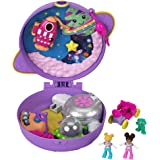 Polly Pocket Saturn Space Explorer Compact with Fun Reveals, Micro Polly and Lila Dolls, Lunar Vehicle, Alien Figure & Sticke