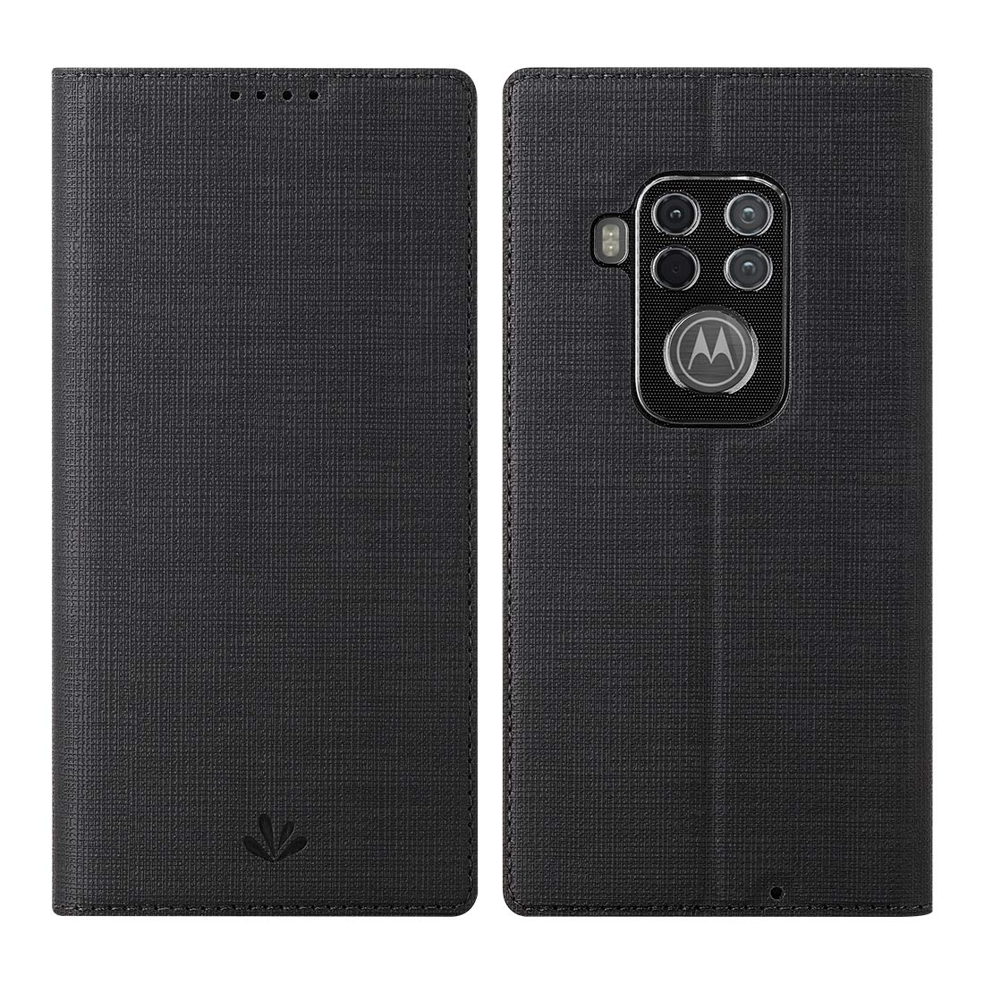 funda flip cover para motorola one zoom, negra