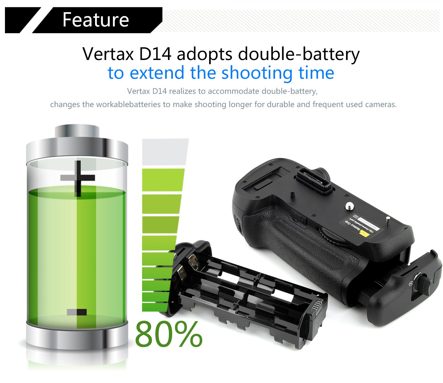 Pixel Vertax D11 battery grip for Nikon DSLR Camera D7000 work with one battery of EN-EL15 or six batteries of AA//LR6 Replacement of Nikon MB-D11