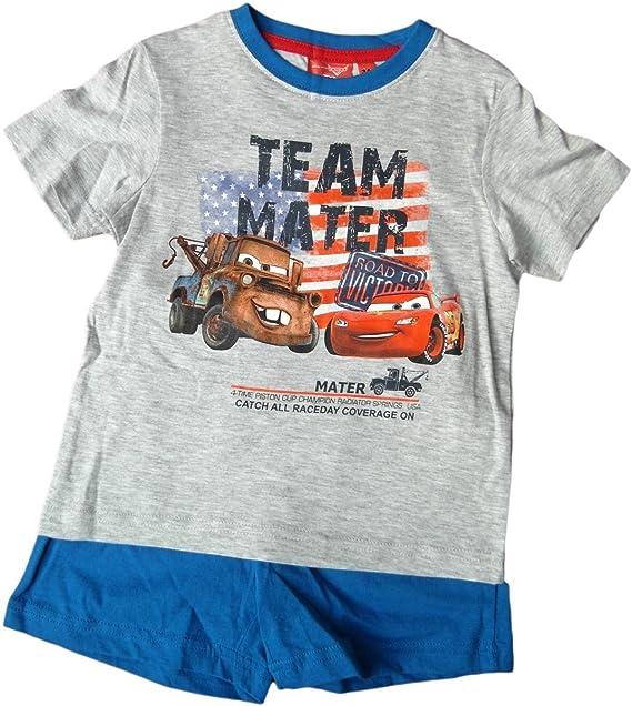 Disney Cars Pijama – Team Mater Lightning MC Queen y Hook – Azul/Gris –