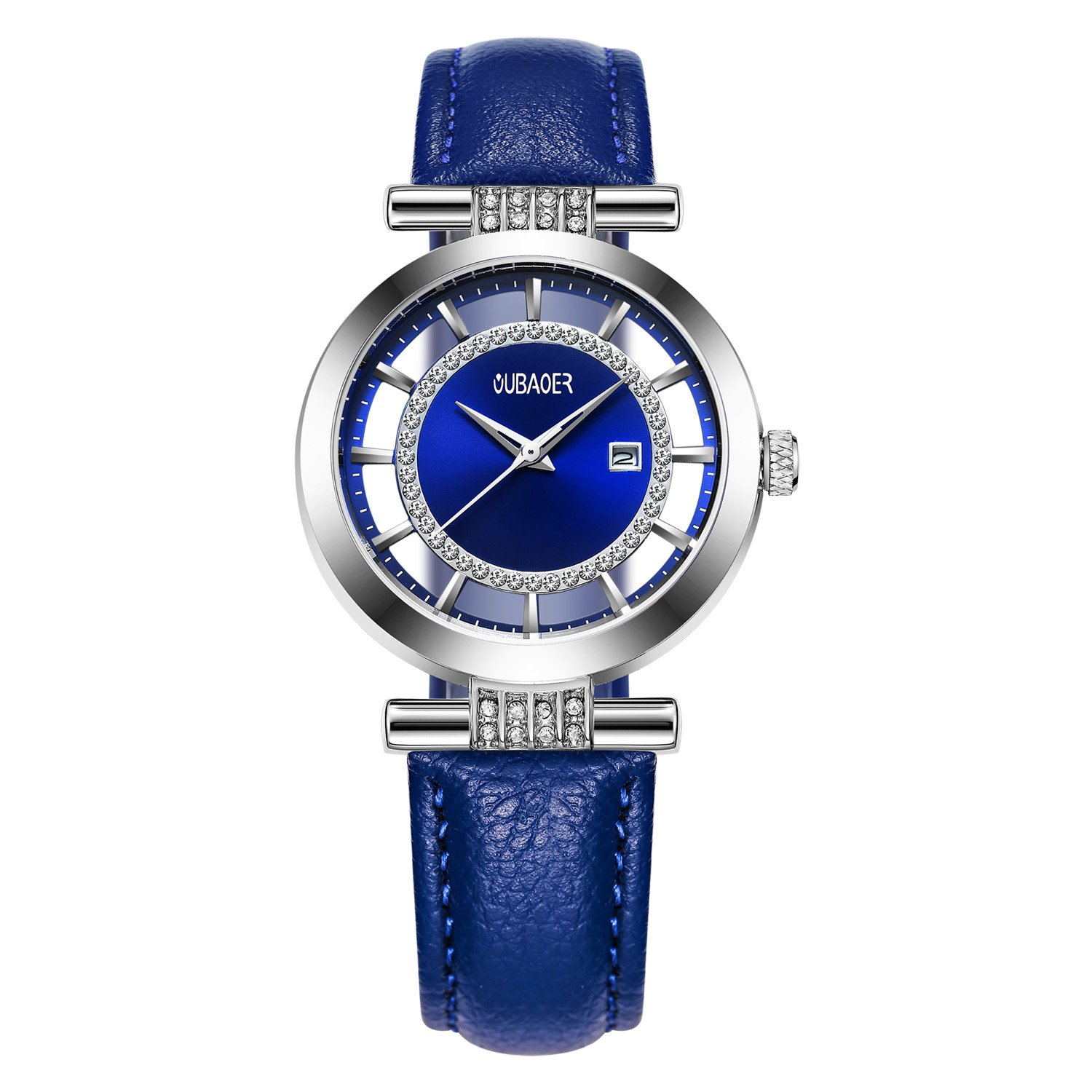 Womens Quartz Watch OUBAOER Crystal Accented Leather Band Watch for Women Transparent Watch with Date Lady Wristwatches for Business(Silver Blue)