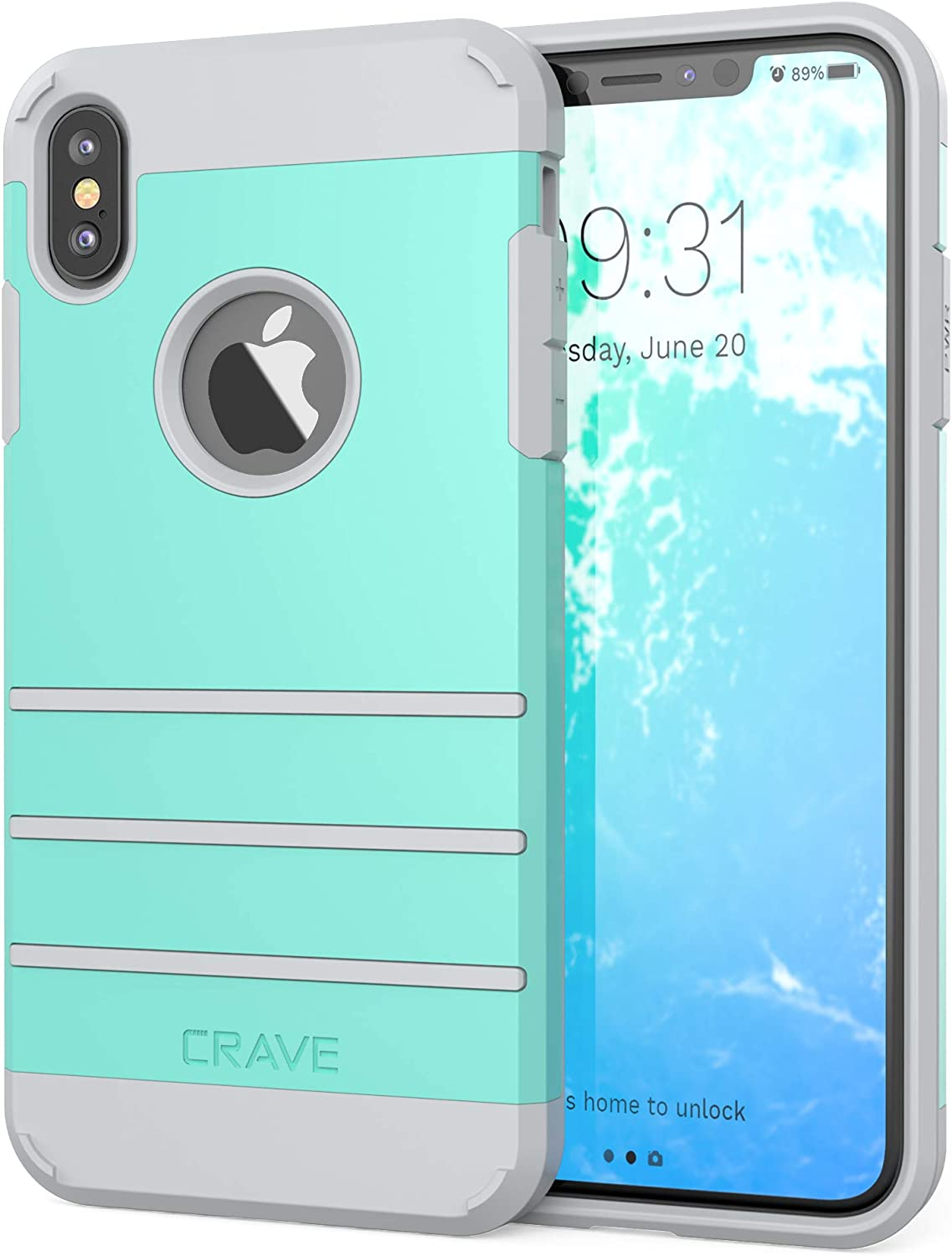 Crave iPhone Xs Max Case, Crave Strong Guard Protection Series Case for Apple iPhone Xs Max - Mint/Grey