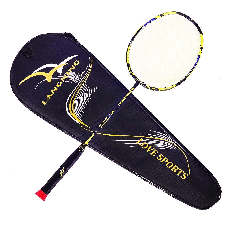 Juego de raqueta de Badminton, de fibra de carbono 7U, con bolsa de transporte, 68 g, amarillo Langning