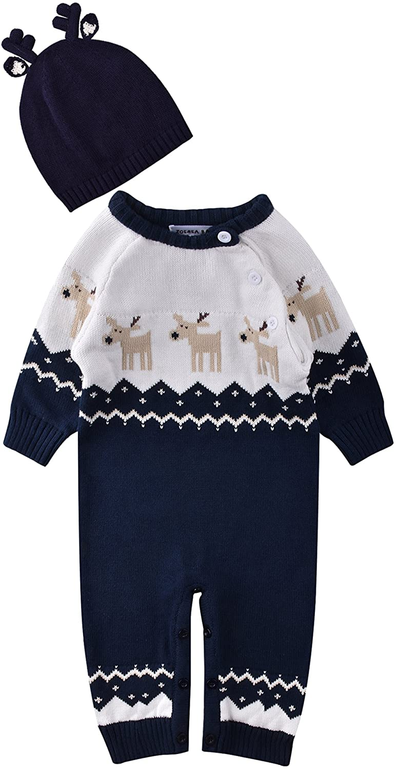 ZOEREA Newborn Baby Romper Christmas Clothes Knitted Sweaters Reindeer Outfit YS2445