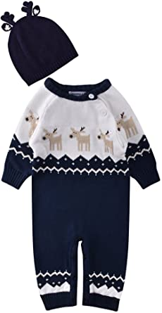 cadb33f87abc ZOEREA Baby Infant Romper Sweater Christmas Knitted Clothes Match Antlers  Hat