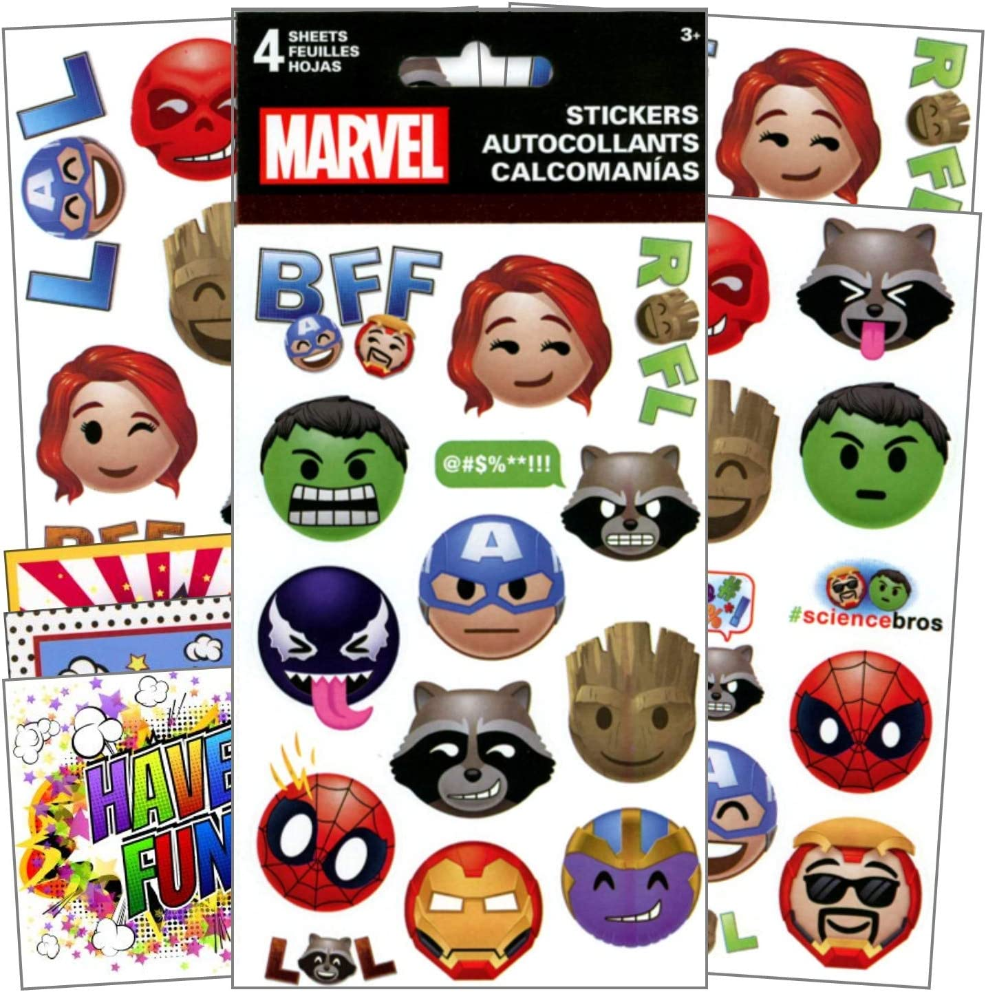 Marvel Avengers Fun Stickers 4 Sheets of Stickers Bundle Includes 3 Specialty Separately Licensed GWW Reward Stickers Stickers for Kids