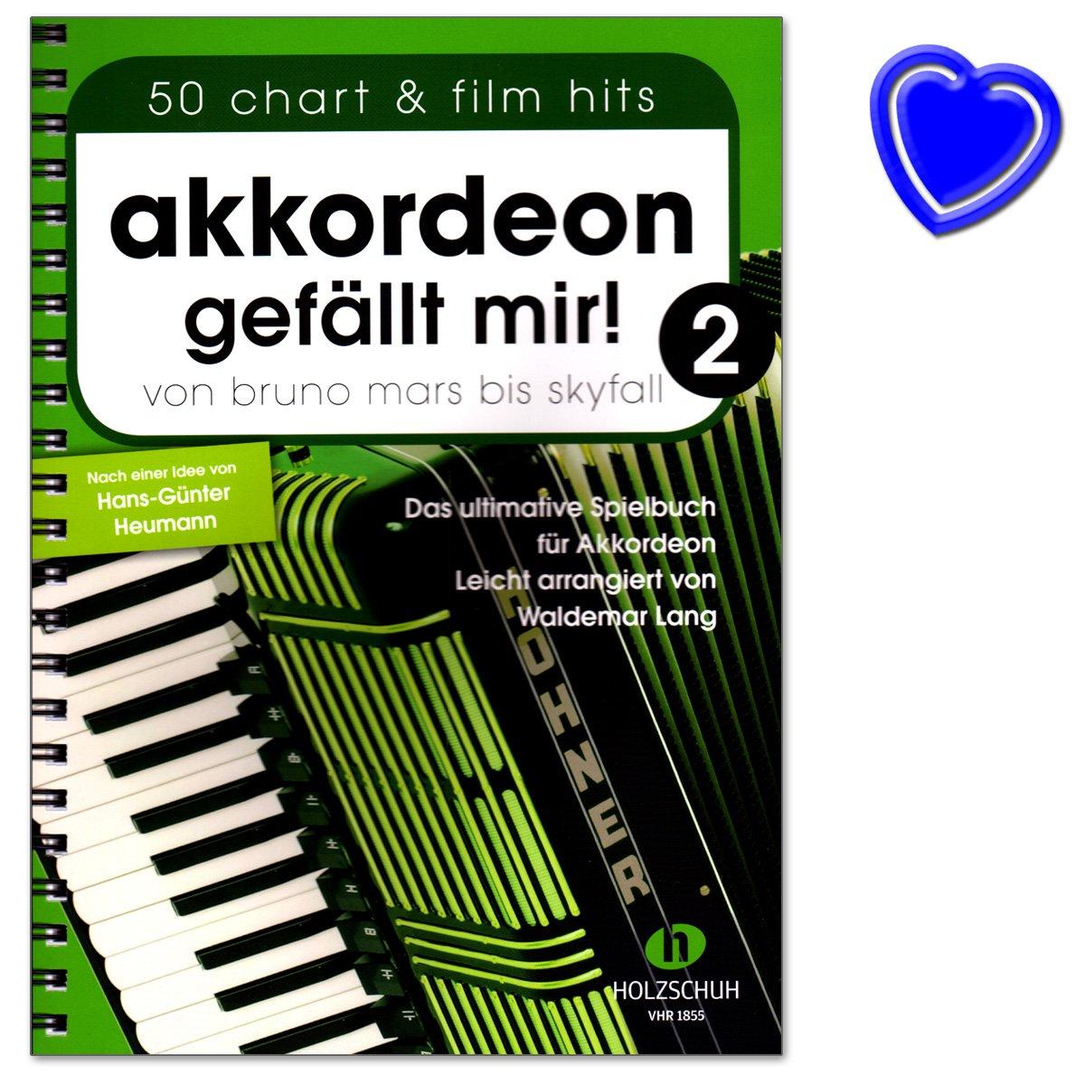 Accordéon J'aime 2–de Bruno Mars à Skyfall–Le livre ultime Jeu pour accordéon, facile arrangés–Livre avec coloré Cœur Note Pince Holzschuh