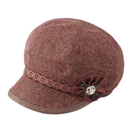 Dosige Mujer Sombrero Hongo Gorra Bombín con Visera Curvada Bowler Hat Sombrero Boina para Cálido Gorro