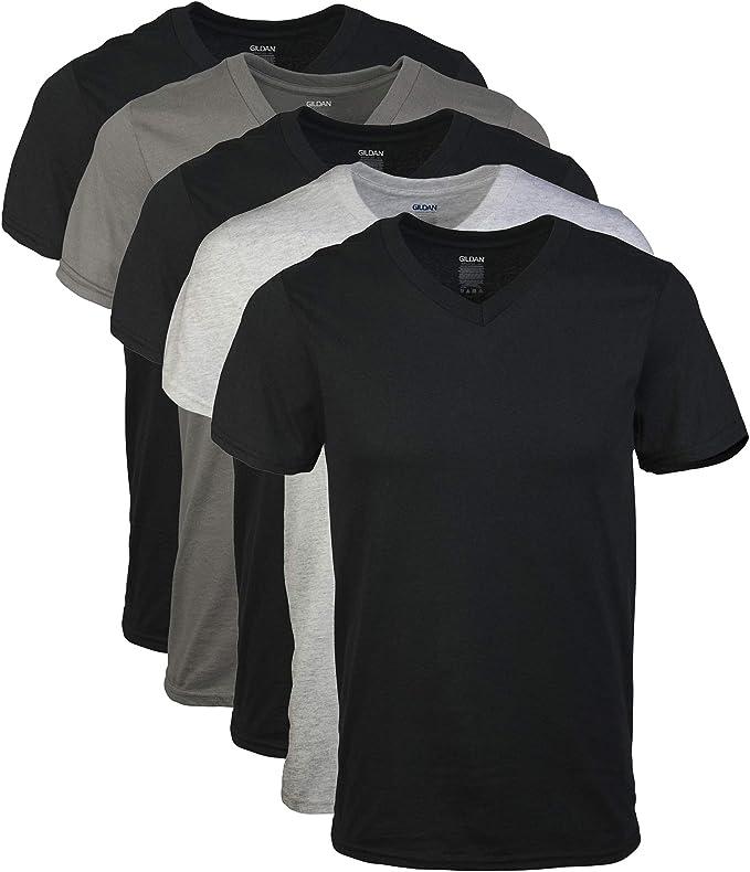 Gildan 男士纯棉V领T恤5件装