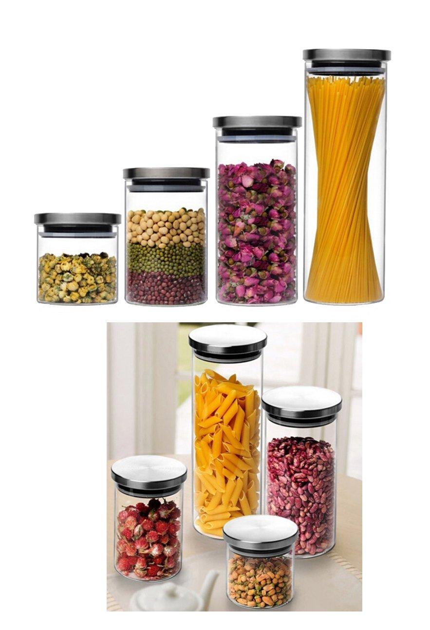 Vorratsbehälter vorratsdose glasbehälter edelstahl anti rutsch gummi dose glas
