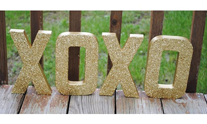 gold xoxo glitter stand up letters valentine decoration wedding decor wedding table gift