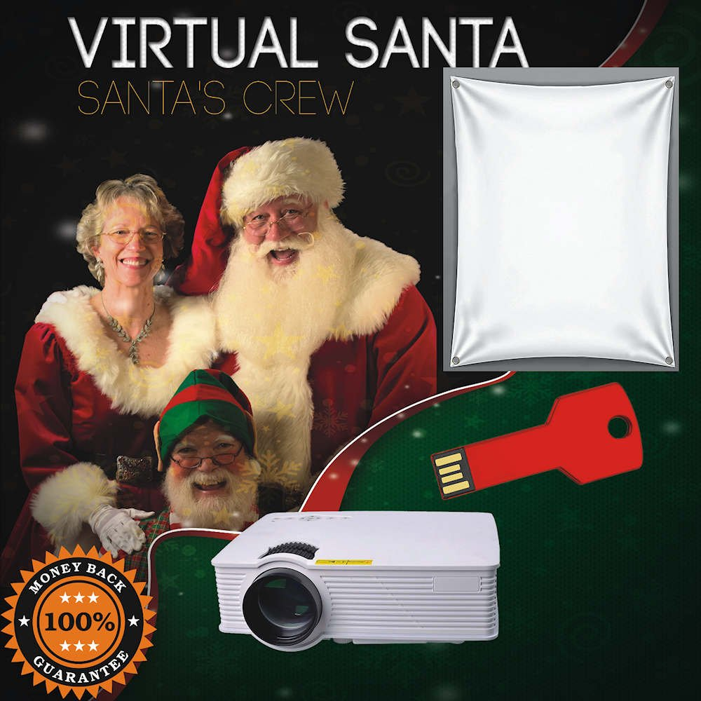 Virtual Santa 1900 Lumen Video Projector, Virtual Santa Video on Thumb Drive and Projection Screen
