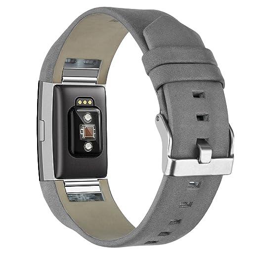 Correa de Reloj para Fitbit Charge 2 KZKR Pulseras de Reloj Correa de Reloj Gris Correa de Reloj de Cuero Moderno para Fitbit Charge 2 Gris B045-GREY: ...