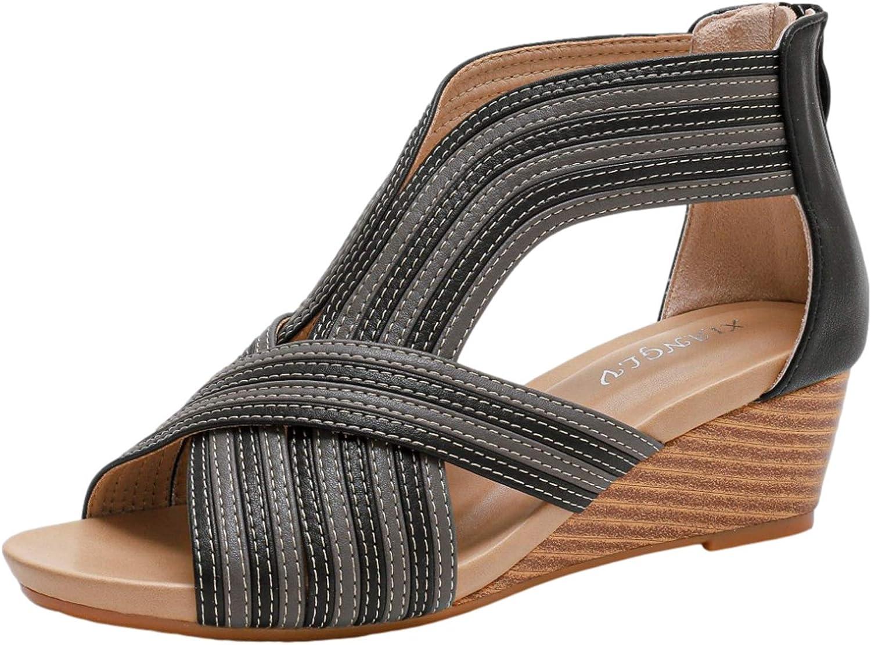 rismart Mujer Sandalias de Vestir Señoras Peep toe Medio Cuña Tiras Casual Zapatos de Verano