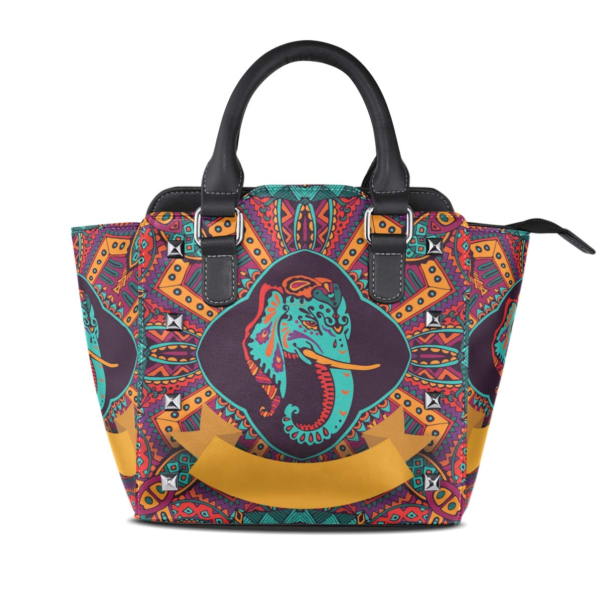 Design4 Handbag Tribal Style Elephant And Lotus Genuine Leather Tote Rivet Bag Shoulder Strap Top Handle Women