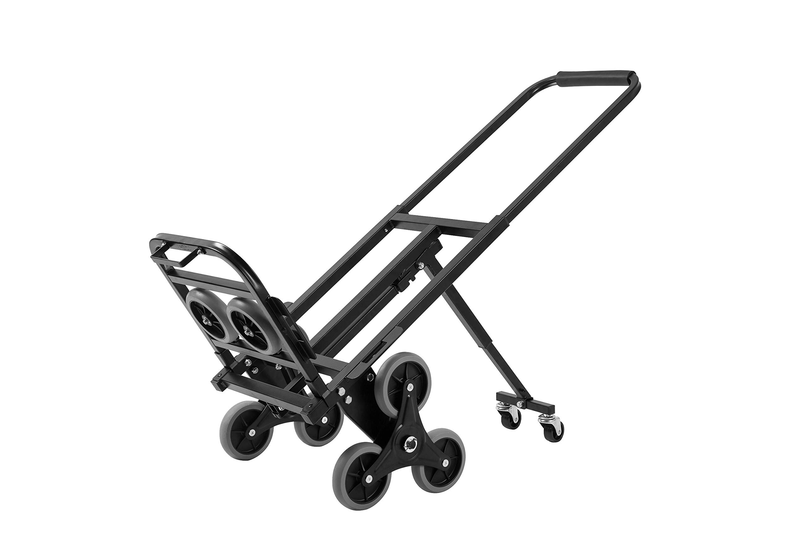 Z-bond Stair Climbing Cart 45 Inches Portable Hand Truck 2x Three-wheel Hand Truck Stair Climber 330LB Capacity Folding Stair Hand Truck Heavy Duty with 2 Backup Wheels