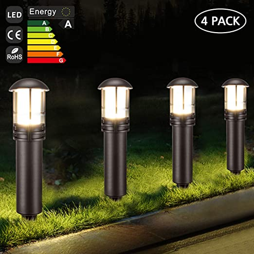 Kohree - Lámpara de jardín LED para piqué, iluminación exterior, impermeable, 12 V, 3 W, para camino, jardín, terraza, juego de 4 lámparas: Amazon.es: Iluminación