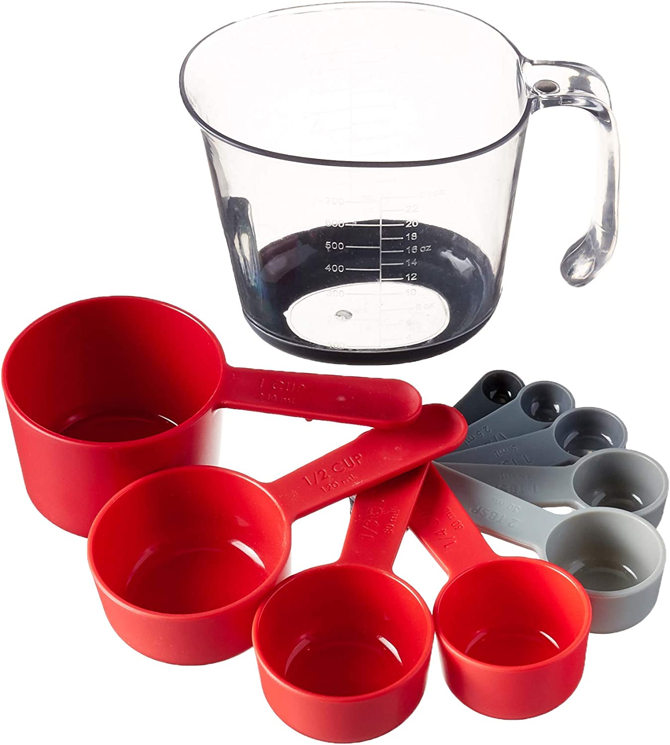Tovolo Magnetic Nested System Cups & Spoons for Wet and Dry Ingredients, Cup Baking Set, Measuring Spoons & Cups for Cooking, Dishwasher-Safe & BPA-Free, Assorted Red/Gray