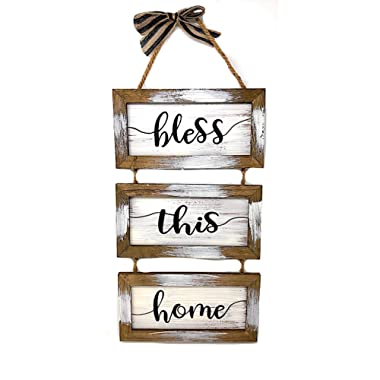S.T.C. Home Sign for Wall Front Door Indoor Outdoor Country Rustic Primitive Decor Art 20  x 9  (Bless This Home)