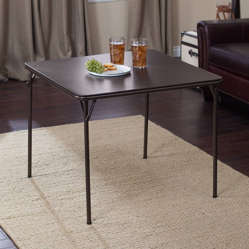 MECO Square Folding Table Cinnabar Frame and Cinnabar Vinyl Top 34 by 34-Inch