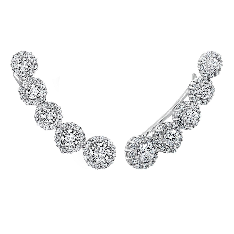 DIAMONBLISS Platinum Clad Swarovski Zirconia Earring Climbers (4.2 cttw)
