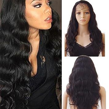Einzelhandelspreise schönen Glanz günstigster Preis Lace Front Wig Human Hair Wigs for Black Women Echthaar Perücke  Naturschwarz #1B Body Wave mit Baby Hair für Frauen 45cm-175g