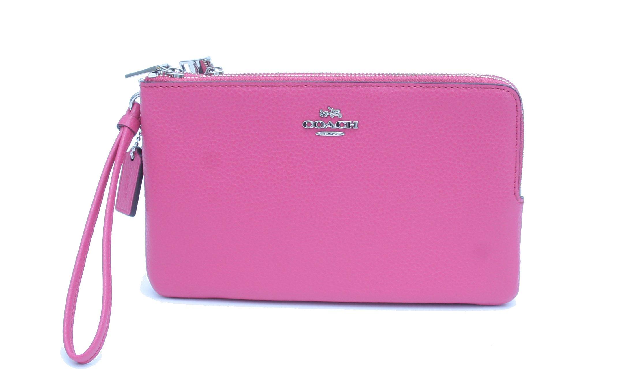 Coach Pebble Leather Double Zip Wristlet Wallet (MAGENTA)