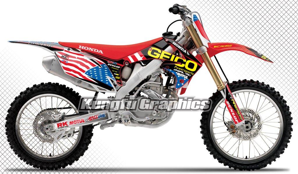 2010 2011 2012 2013 Honda CRF 250r MXグラフィックスデカールキットfor Dirt Bikes、数字で赤い背景ホワイトプレート、スクラッチフェード耐性、モータースポーツモトクロススーパークロス レッド HDCRF10130007   B073TTDKK3