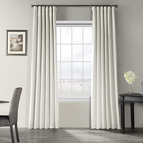 HPD Half Price Drapes PDCH-KBS21-120 Vintage Textured Faux Dupioni Silk Curtain 1 Panel , 50 X 120, Mist Grey