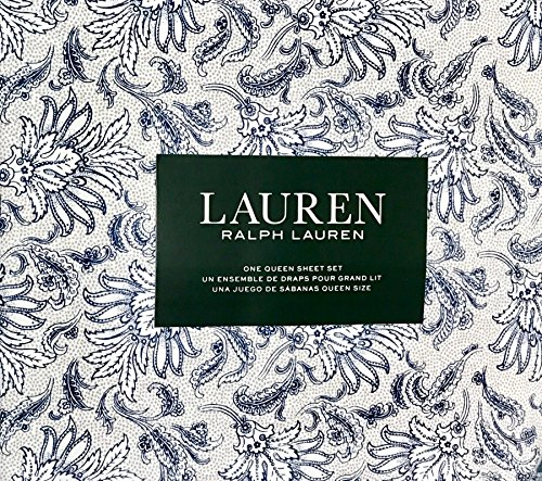 Navy Blue Floral Pattern (Ralph Lauren 4 Piece Sheet Set - Navy Blue Floral Pattern with Leaves on White with Grey Accents in Background 100% Cotton (Queen))